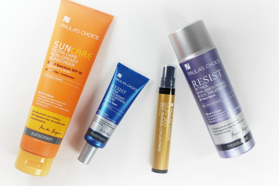 Paula's Choice Extra Care Non Greasy Sunscreen SPF 50, Sonnencreme Gesicht, Sonnencreme ohne Alkohol, Paula's Choice Resist Super Antioxidant Concentrate Serum, Paula's Choice Selbstbräuner Konzentrat, Paula's Choice Resist Retinol Bodylotion, Super Twins Annalena und Magdalena