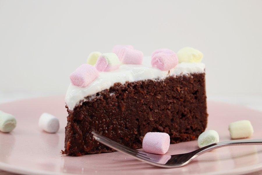 Schoko Rüblikuchen, saftiger Karottenkuchen mit Schokolade, Low Carb Protein Karottenkuchen, saftiger Karottenkuchen ohne Eier, Super Twins Annalena und Magdalena